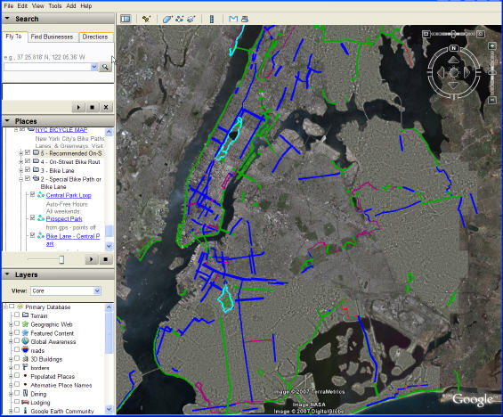 Google Earth New York City Bike paths, Bike Lanes, Greenways, & Parks